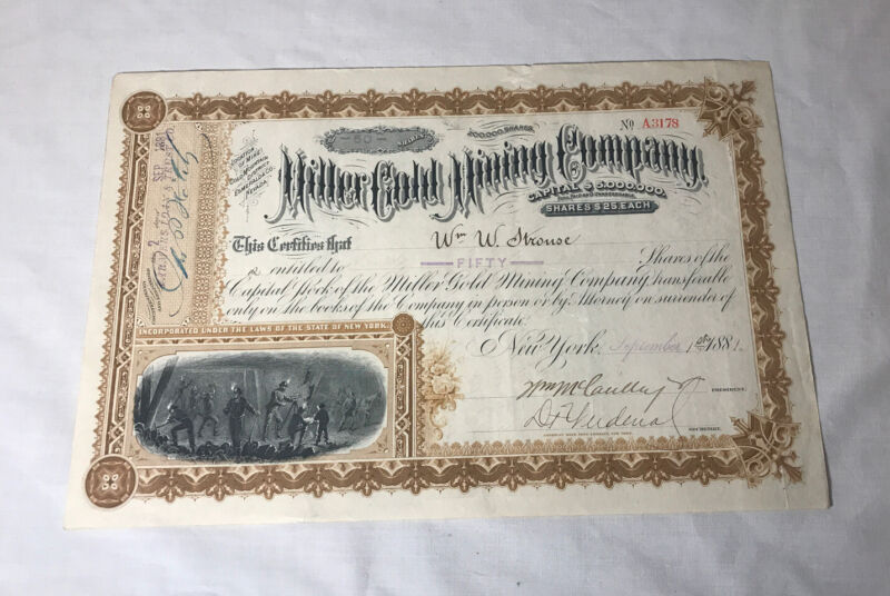 1881 MILLER GOLD MINING COMPANY NEW YORK STOCK CERTIFICATE Crisp!! EUC