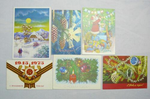 Original 6 Vintage Soviet Postcards Russian USSR Socialism 1970's