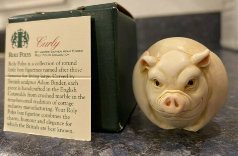 "Retired Harmony Kingdom Roly Polys ""Curly"" Pig Box Figurine TJRPPI NIB"