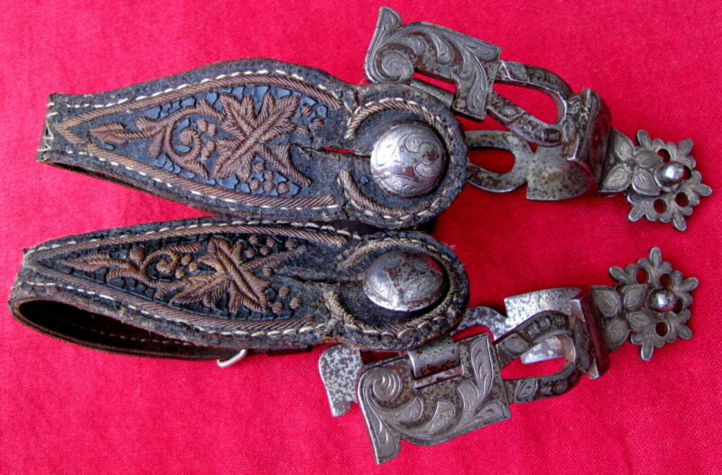 ANTIQUE DOUBLE MOUNTED SILVER INLAID & ENGRAVED HORSESHOE HEELBAND FANCY SPURS