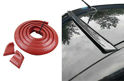 Dachspoiler Heckspoiler Spoiler Blende Lippe Carbon Look Rot für viele Fahrzeuge