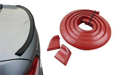 Kofferraumspoiler Heckspoiler Spoiler Lippe Carbon Look Rot für viele Fahrzeuge