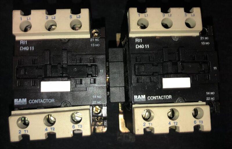 Set Of 2- RAM Industries RI1-D40 11 Contactor 40 Amp