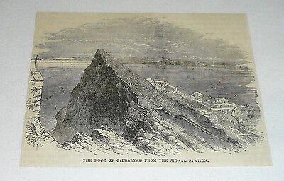 1878 magazine engraving ~ THE ROCK OF GIBRALTAR