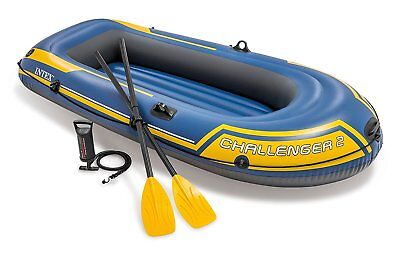 Intex Challenger 2 Boat Set - Two Man Inflatable Dinghy with Oars and Pump