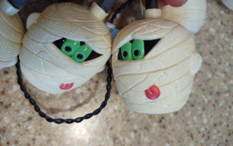 10 Vtg HALLOWEEN Blow Mold Plastic Light String Mummys Decoration Covers