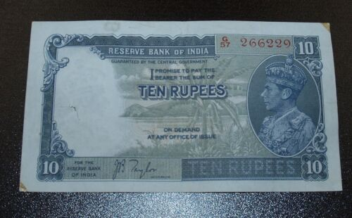 British Bank of India 1937 Ten (10) Rupees Note - VF Apparent