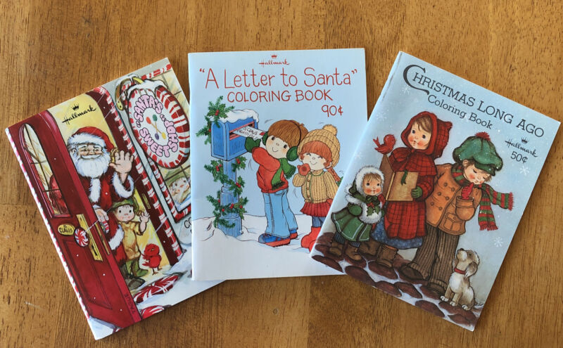 NOS Hallmark Christmas Mini Coloring Book Lot of 3 Santa