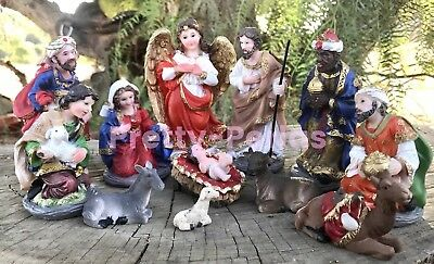Christmas Nativity Set Scene Figures Polyresin Figurines Baby Jesus-13-PIECE SET - Child Nativity Set