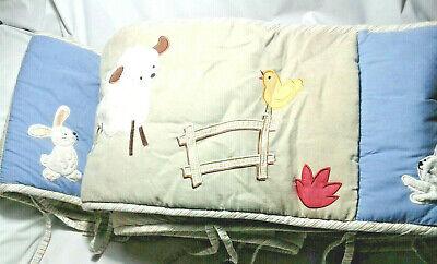 KidsLine Multicolor  All Around Crib bumper-Sheep, Rabbit Birds Around Crib Bumper