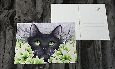 Postkarte Katze, Grün, Blüten, Blumen, Lilien, Rauch, Schwarz, Kunstdruck