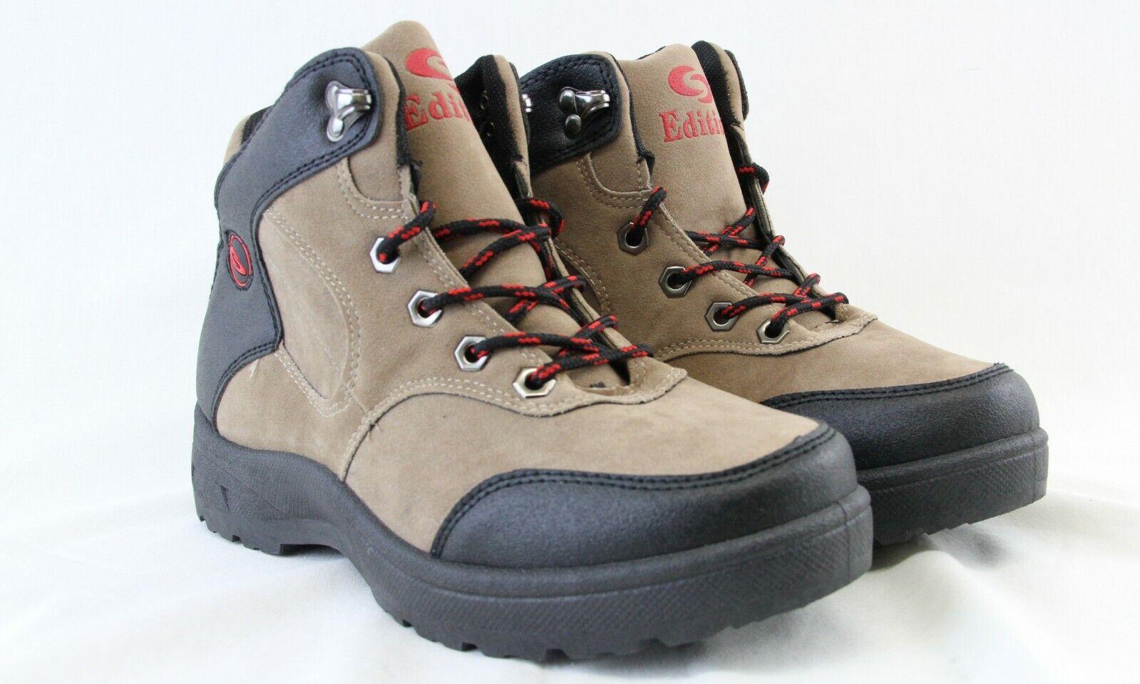 Men Lace Up Hiking Boots High Top Khaki Black Lightweight Walking Working Shoes