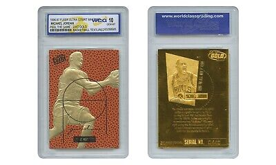 1996 MICHAEL JORDAN Fleer Court Masters FEEL THE GAME 23K GOLD Card GEM MINT 10