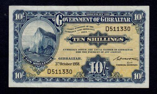 GIBRALTAR  10 SHILLINGS 1958  PICK # 14b  VF.