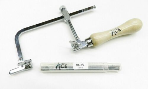 """Jewelers Saw Frame 3"""" & 144 Saw Blades # 3/0 Jewelry Making Repair Sawframe Set"""