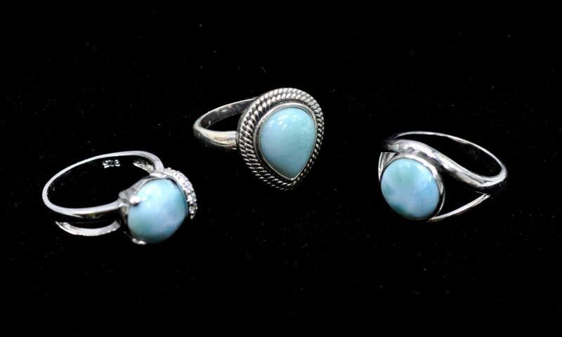 Larimar Rings (Wholesale) 3 Rings Premium Jewelry. .925 Sterling Silver