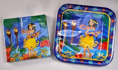Luau Paper Plates & Napkins Hawaiian Party Hula Tropical Large Square Meal Aloha - Hawaiian Paper Plates