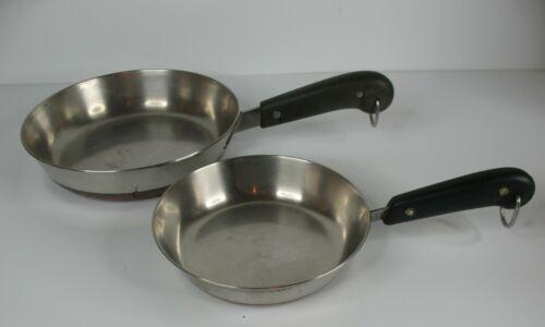"Set of 2 Revere Ware 6-1/2"" & 8"" Copper Clad Skillets Fry Pan Vintage, no lids"