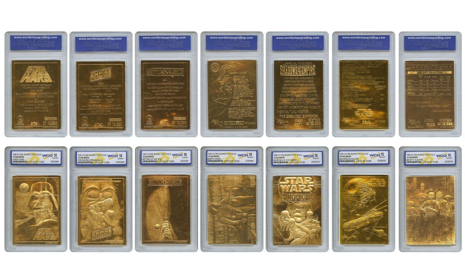 STAR WARS 1996 Genuine 23KT Gold Cards Graded Gem-Mint 10 – COMPLETE SET OF 7