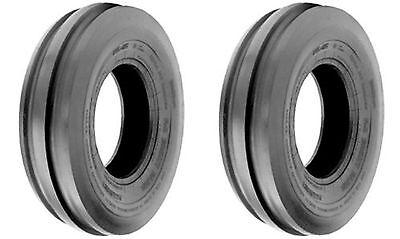 Two 7.50-16 7.50x16 Tri-rib 3 Rib Tractor Tubeless Tires Heavy Duty 8ply Rated