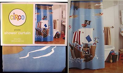 CIRCO Pirate Adventure Shower Curtain Fabric-Boy-Island-Ship-Skull Crossbone NEW - Pirate Shower Curtain