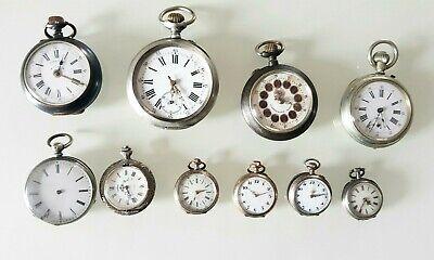 10 Orologi da Taschino antichi non funzionanti (di cui 3 in argento)