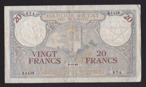 1942 Morocco 20 Francs .