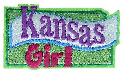 Kansas Girl 2 inch Embroidered Hat Shoulder Patch F3D12J