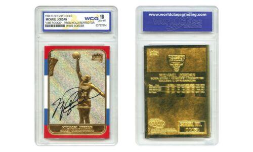 MICHAEL JORDAN 1998 FLEER ROOKIE 23KT Gold Card PRISM REFRACTOR Rookie Signature