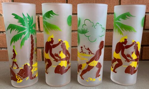 Set 4 Vintage Federal Tropical Beach Frosted Tumblers Glasses Mid Century Modern