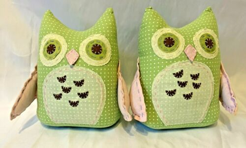 Pottery Barn Brooke/Hayley Nursery Weighted Owls Bookends Dotted Green Pink