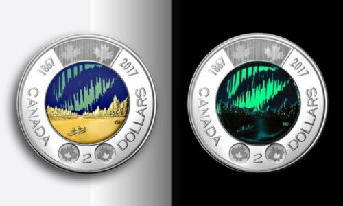 2017 Canada 150 anniv Dance of spirits colored, glow in dark $2 Toonie from roll