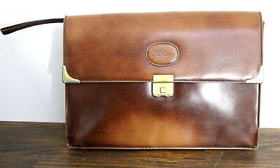 Vtg Fanon Brown Real Leather Flap Portfolio Attache Case Paper Holder Briefcase
