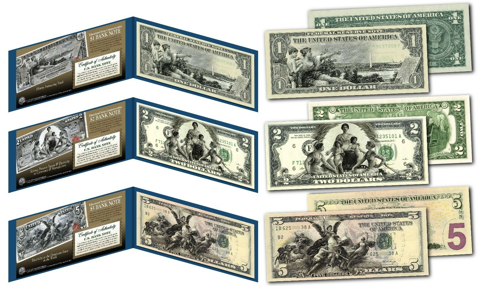EDUCATIONAL SERIES 1896 Designed NEW Legal Tender Bills $1/$2/$5 - Set of all 3