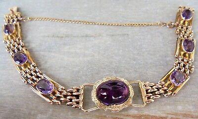 Gold Mittelstücke (Amethyst Armband mit antikem Mittelstück aus 375 / 9 K Gold (gestempelt))
