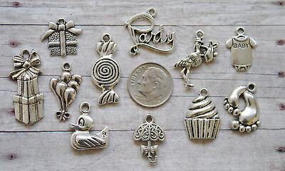 11pc Baby Shower Themed Charm Set Lot Collection/Party,Stork,Rubber Duck,Balloon](Rubber Duck Themed Baby Shower)
