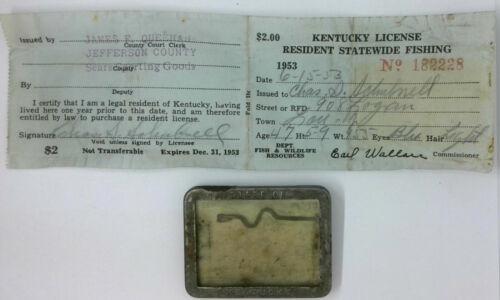 1953 Kentucky Resident Statewide Fishing License...Free Shipping!