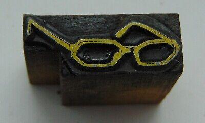 Printing Letterpress Printers Block Small Pair Of Glasses