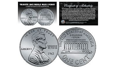 TRIBUTE 1943 World War II Steel PENNY Coin Clad in Genuine PLATINUM (Lot of 3)