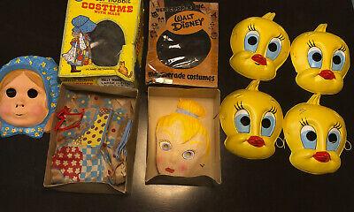 Vintage Lot of 6 Halloween Costumes Masks, Tinkerbell, Holly Hobby, TweetyBird