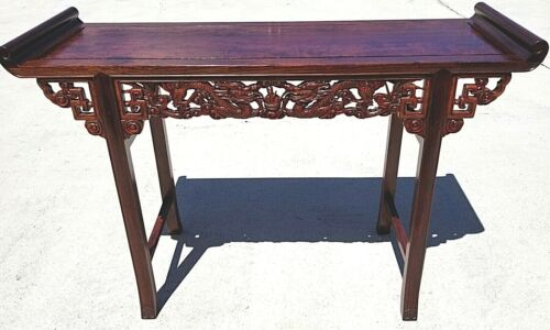 Vintage Asian Chinese Carved Ornate Rosewood Alter Entry Sofa Table Chinoiserie