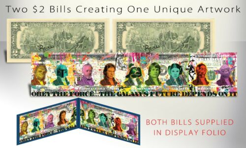 STAR WARS Darth Vader Signed by Rency Panoramically on Two Genuine U.S. $2 Bills