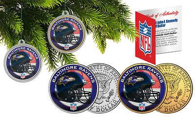 BALTIMORE RAVENS CHRISTMAS ORNAMENT NFL 24KT GOLD JFK HALF DOLLAR 2 COIN (Baltimore Ravens Coin Set)