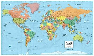 32x50 Rand McNally Style World Wall Map Signature Series Poster Mural by (Style World Map)