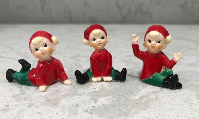 Vintage Hard Plastic Christmas Pixie Elves Hong Kong