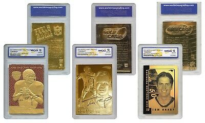 Tom Brady Patriots Genuine 23Kt Nfl Gold Cards   Graded Gem Mint 10   Set Of 3
