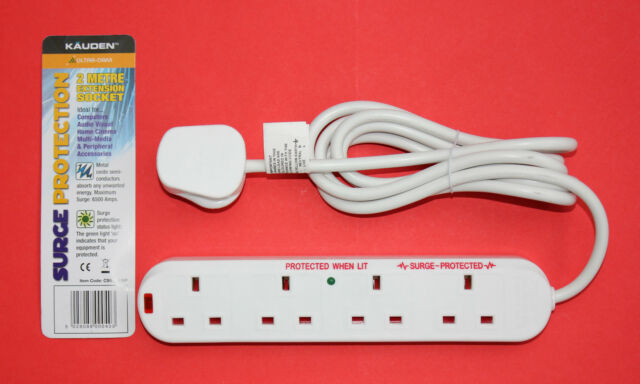 "KAUDEN 4 Gang 2 Metre Extension Socket ""Surge Protection"" NEW"