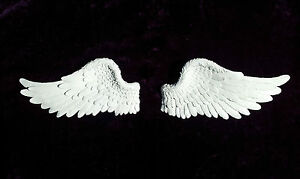 Large Stunning Antique White ANGEL WINGS - Intricate Wall Art