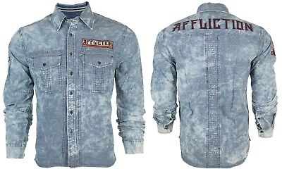 Indigo Mens Shirt - AFFLICTION Mens Embroidered L/S Button Down Shirt FORT STORY Indigo Blue $88 NWT