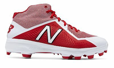 New Balance Mid-Cut 4040V4 Tpu Baseball Cleat Mens Shoes Red With White - Mid Cut Cleat